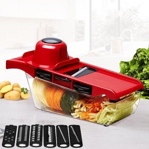 Cortador de Vegetais Legumes Frutas e Verduras 6 em 1 Multifuncional (Com 6 Lâminas de Aço) - Loja Oficial | XploudShop