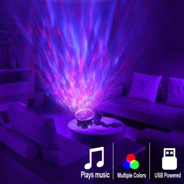 Ocean Wave Projetor de LED de Oceano Luz Noturna Alto-Falante Controle Remoto Programável 7 Luzes Atmosfera - Loja Oficial | XploudShop