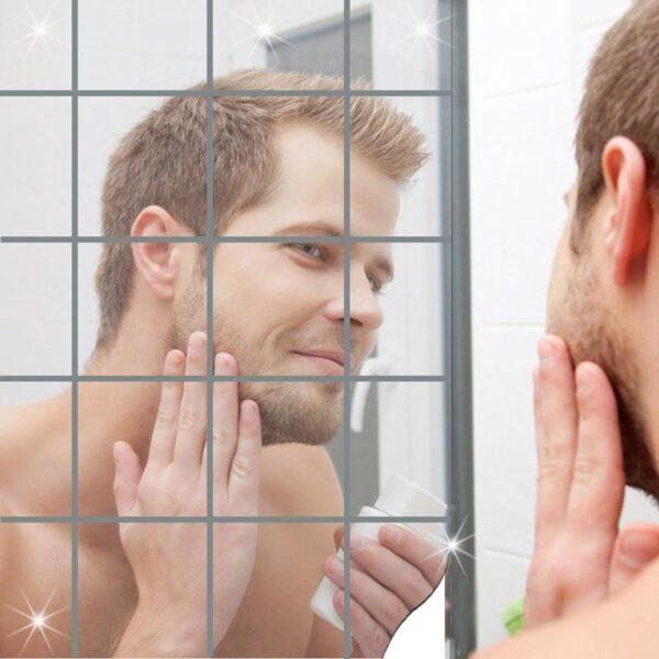 Espelho Adesivo de Parede Painel de Decoração (9 Peças de 15x15cm) Super Resistente Cola Forte - Loja Oficial | XploudShop
