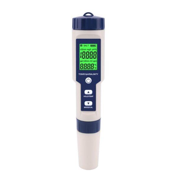 Medidor de Qualidade de Água Digital YIERYI EZ-9909A 5 em 1 Verificador Multiuso TDS / EC / PH / Salinidade / Temperatura - Loja Oficial | XploudShop