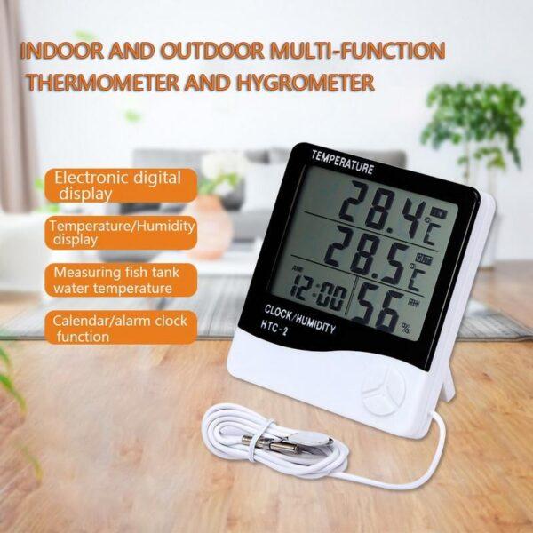 Termo Higrômetro Medidor de Umidade e Temperatura Digital LCD com Sensor Externo e Interno e Relógio - Loja Oficial | XploudShop
