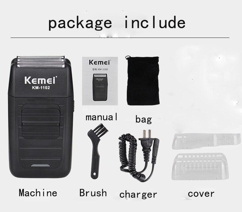 Barbeador Elétrico Kemei KM 1102 Máquina de Barbear Sem Fio 2 em 1 - Loja Oficial | XploudShop