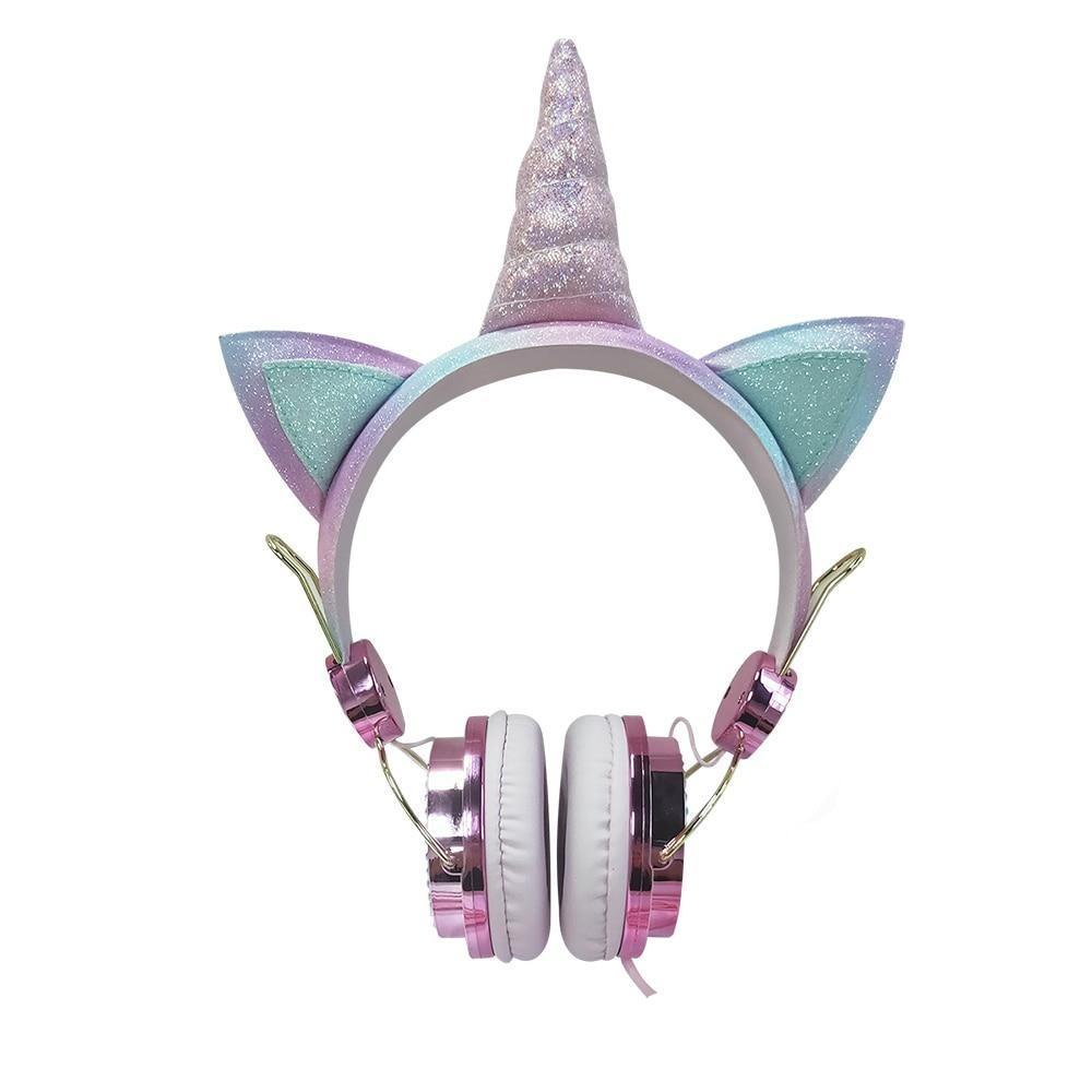 Fone de Ouvido Unicórnio Rosa Glitter Brilhante Com Fio - Loja Oficial | XploudShop