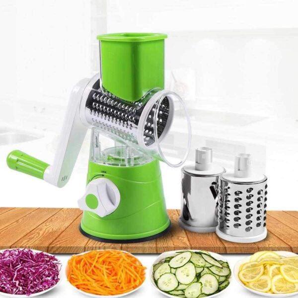 RoundSlicer - Cortador Fatiador e Ralador de Verduras Frutas e Legumes 3 em 1 Aço Inoxidável Lâmina Tripla - Loja Oficial | XploudShop
